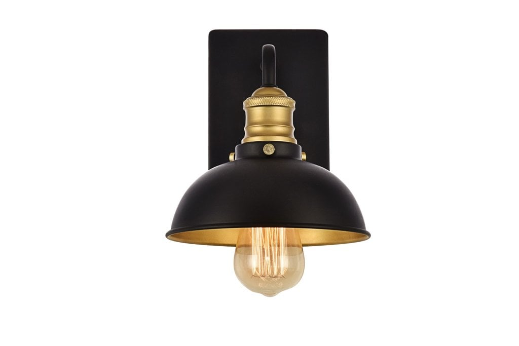 Image of: Anders 1 Light Transitional Wall Sconce Black Brass Rivervale Led Lighting Corp